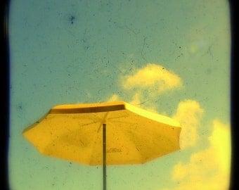Beach Umbrella Photo Print Summer Days 5x5 TtV Photography Holiday Seaside Sunshine Sun Bleached Yellow Parasol Coastal Cottage Photograph