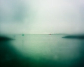 Fine Art Photography Overcast Ocean Fog, Mint Green Ombre Soft Dreamy Beach Decor Photograph, Coastal Landscape Photo Print Home Decorating
