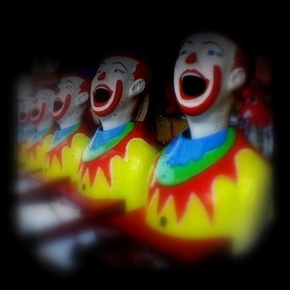 Clown Photo Print 5x5 TtV Carnival Photograph Sideshow Alley Yellow Red Blue Summer Fair Photography Laughing Clowns Boy Nursery Art Decor