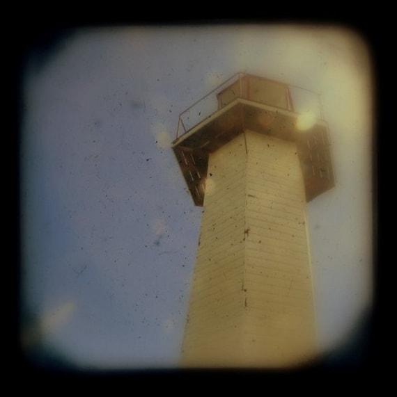Lighthouse Photograph 4x4 TtV Summer Lighthouse Photography - Historical Nautical Print - Sun Soaked Coastal Scene - Home Wall Art