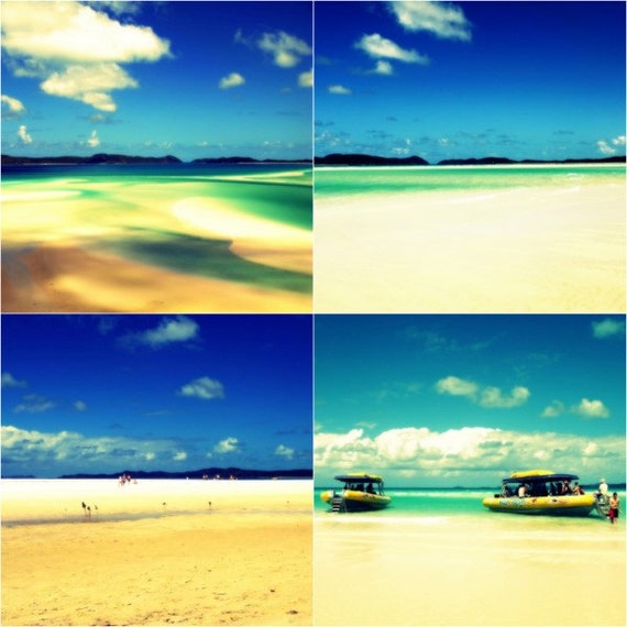 Beach Photo Print Set 4x4 Turquoise, Ocean, Golden Sand, Yellow Boats, Great Barrier Reef, Dreamy Whitsundays Coast Photographs
