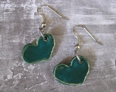 RESERVED for NAOMI - Dangly Teal Heart Earrings