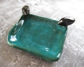 Cute Square Teal Dish with Birdies - best buds