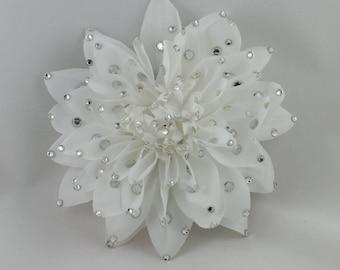 Sparkling White Dahila Flower hair or anywhere clip