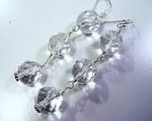 AAA Rock Crystal Quartz, Sterling Silver Earrings   -   Ice Ice Baby