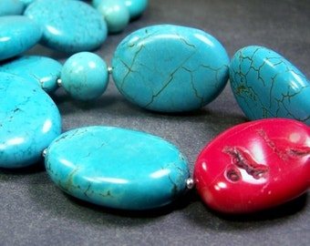 Turquoise Flat Nuggets, Round Turquoise Beads, Bamboo Coral , and Sterling Silver, Necklace   -   The Bold and The Beautiful   -   Necklace