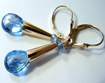 AAA London Blue Topaz Briolettes, London Blue Topaz Rondelles,  14kt Gold Fill  Earrings -  Palace Blues