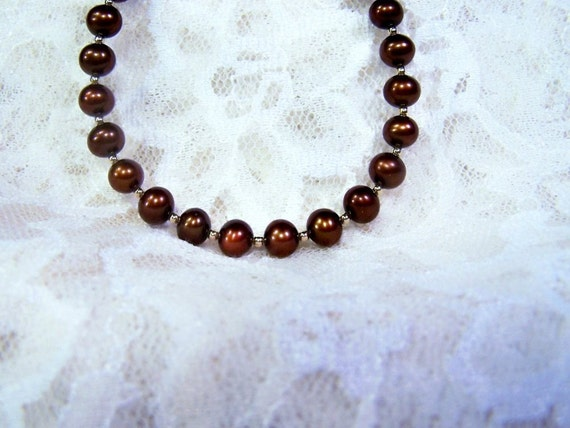 Chocolate Freshwater Pearls, Gold Filled Necklace   -  For The Love Of Chocolate
