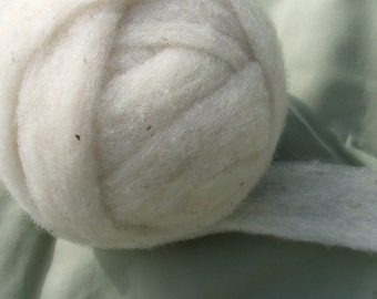 Suffolk Wool Roving for Spinning or Felting -- Undyed -- 4 oz.