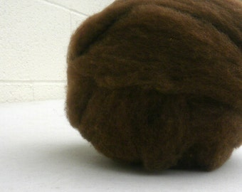 LAST ONE! Polypay Wool Roving for Spinning -- Chocolate -- 4 oz.