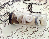 Antique Baby Button Soldered Glass Vial Necklace