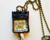 Stained Glass Miniature Collage Journal Book Soldered Necklace -- The Garden -- No.8 - Mystarrrs