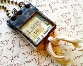 Book Necklace Miniature Book Pendant Glass Journal Collage Art Journal Jewelry Tiny Journal Book Charm Gift For Writer Gift for Book Lover