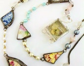 Stained Glass Soldered Broken China Dish Rosary- The Junkyard Patchwork Rosary - Mystarrrs