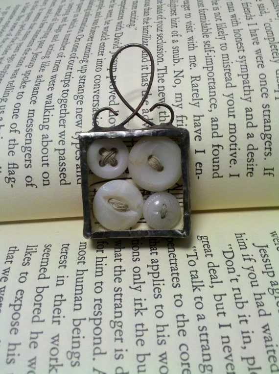 Antique Baby Buttons Shadowbox Soldered Glass Stained Glass Charm Pendant Ornament