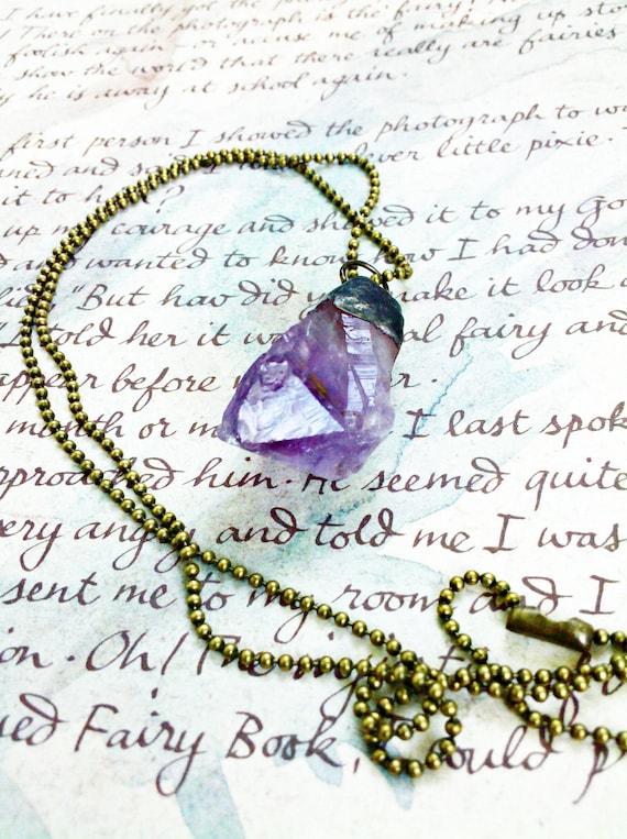 Amethyst Crystal Soldered Pendulum Necklace
