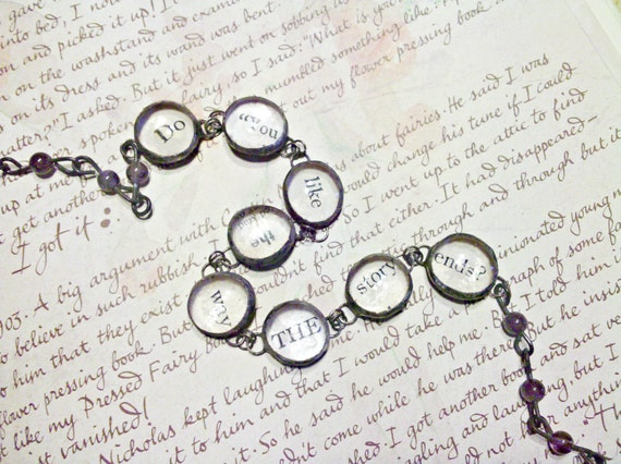 Glass Charm Bracelet, Wrap Story Bracelet, Purple Amethyst Bead Chain, Story Jewelry, Gift For Writer, Book Lover Charm Bracelet, Baubles