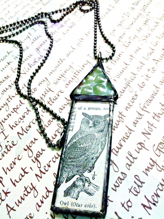 Owl House Stained Glass Collage Art Pendant Necklace