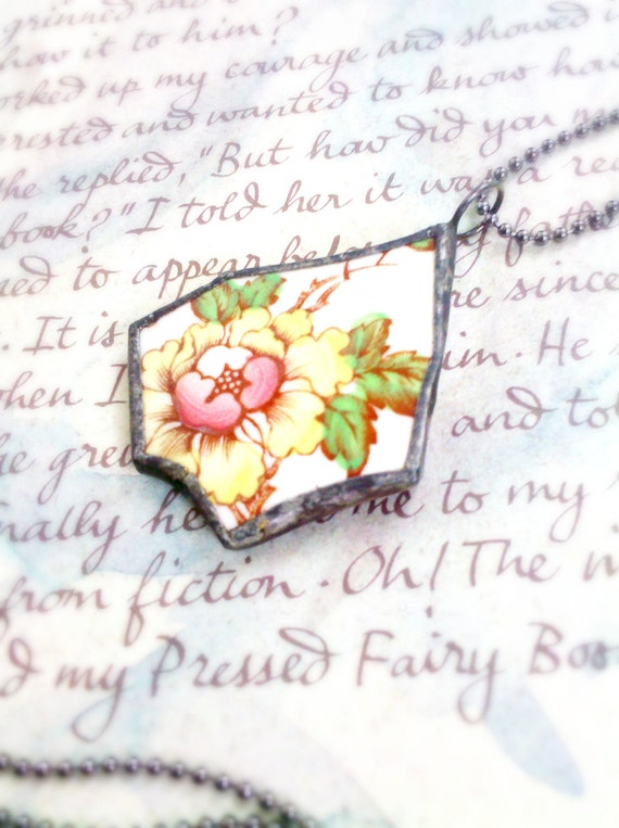 Antique Broken China Stained Glass Charm Pendant Necklace