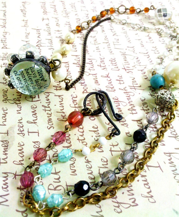 RESERVED FOR SHREANY Gypsy Assemblage Necklace With Soldered Glass Bauble Charm - Believe