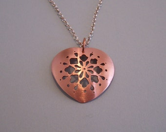 Pierced Copper Heart Necklace