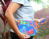 Butterflies Padded Zipper Bag Wristlet