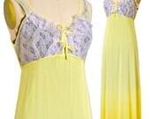 Vintage Yellow Empire Waist Negligee Maxi Slip