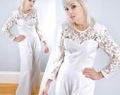 Vintage White Floral Lace JUMPSUIT