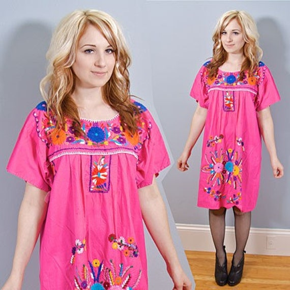 Vintage Hot Pink Embroidered Mexican Mini Dress - 1970s