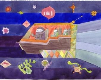 Futuristic family on a mini van journey in the dark 8x10 print
