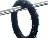 Beaded Felt Bangle- Beads in iridescence green