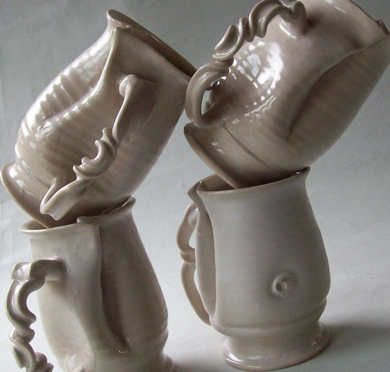 Reserve for Ann: Pair of White Matte Curly Mugs