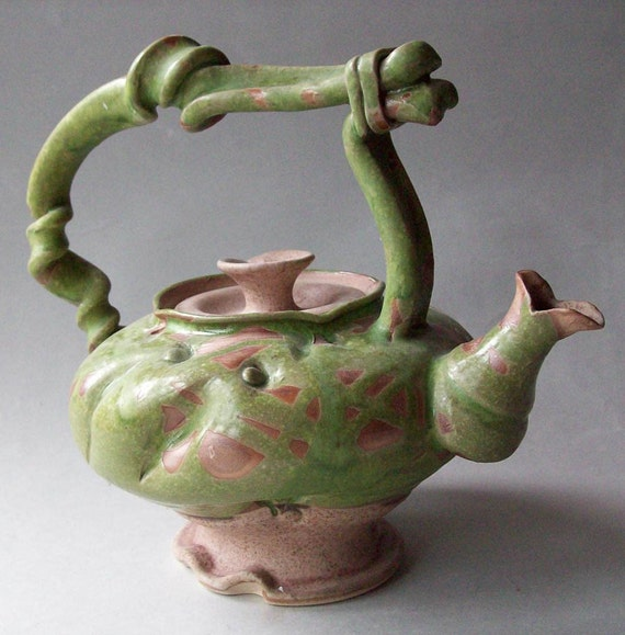 Curly Green Teapot  Spotted - Was 175 - OnSale