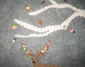 The Deer Tree- felted wool art
