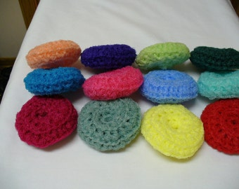 Set  Of  3 --- New and Improved  Hand Crocheted Nylon Scrubbies (Pot Scrubbers) --Assorted Colors