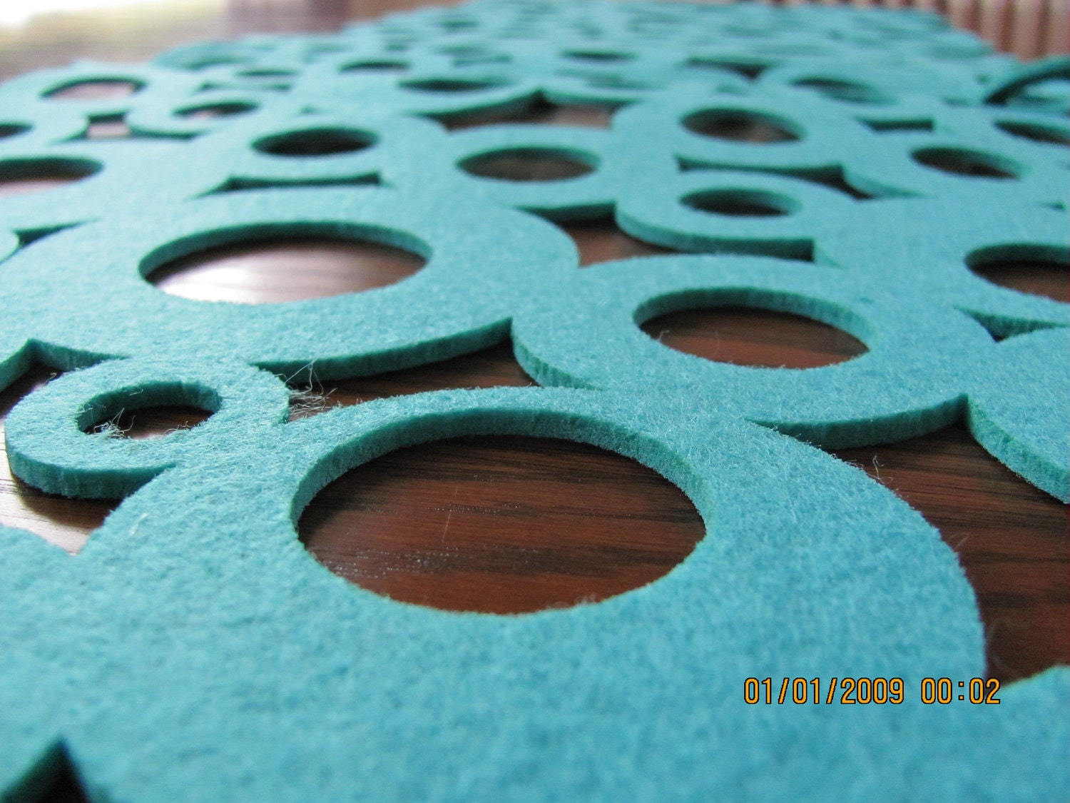 Turquoise Felt Modern Table Runner Circles Modern By