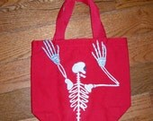 Glow In The Dark Skeleton with 3d Hands Canvas Tote