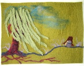 Wind in the Willow, needle felt wool wall art hanging