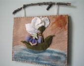 Flower Fairy Boat- RESERVED for Wendy- Wool Felt and Needle Felted Wall Art Hanging