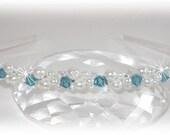 Pearl and Custom Colored Crystal Diagonal Wrapped Tiara