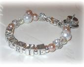 Childs  Name Bracelet First Birthday Present Sterling Silver Pink Princess Pearl Bracelet Charm Bracelet