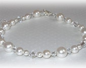 Pearl Bridal Anklet Swarovski Crystal Accessories Jewelry Wedding Brides Ankle Bracelet Pearls Crystals White or Ivory