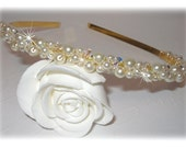Swarovski Crystal Pearl Tiara Headband Head Band Crown Beaded Bridal Wedding Formal Prom Hair Accessories