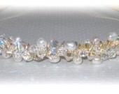 Crystal Pearl Bridal Tiara Wedding Freshwater Pearls Swarovski Crystals Beaded Gold Silver Crown Headband