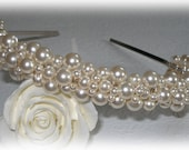 Pearl Caviar Tiara Cluster Pearls Headband Band Crown Cluster Bold Veil Bridal Wedding Brides Hair