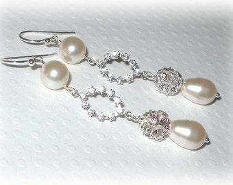 Pearl Rhinestone Bridal Earrings Wedding Brides Jewelry Swarovski Pearls Crystals Sterling Silver