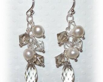 Bridesmaid Earrings Swarovski Teardrop Custom Color Pearl Drop Beaded Wedding Bridal Earrings Sterling Silver