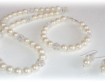 Pearl Fireball Bridal Set Necklace Bracelet Earrings Silver Ivory White Pearls Brides Jewelry Bridesmaids Gift