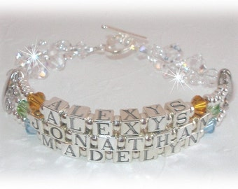 Rock Candy Three Name Mothers Bracelet