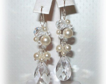 Swarovski Crystal Pearl Earrings Beaded Long Dangly Bridal Wedding Jewelry Accessories Sterling Silver